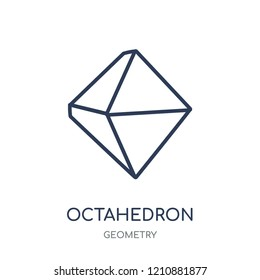 Octahedron icon. Octahedron linear symbol design from Geometry collection. Simple outline element vector illustration on white background.