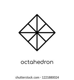octahedron icon. Trendy modern flat linear vector octahedron icon on white background from thin line Geometry collection, outline vector illustration