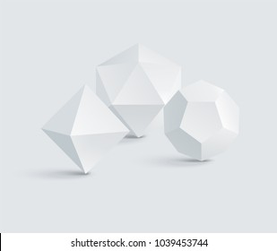 Octahedron and icosahedron, dodecahedron prisms, white geometric figures group, vector illustration, polygonal prisms, triangles and pentagons figures