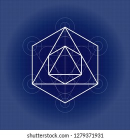 Octahedron from Metatrons cube, sacred geometry illustration on technical paper