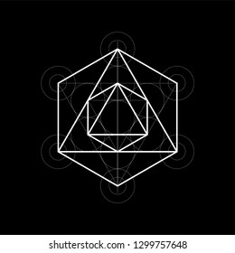 Octahedron from Metatrons cube, sacred geometry vector illustration on black