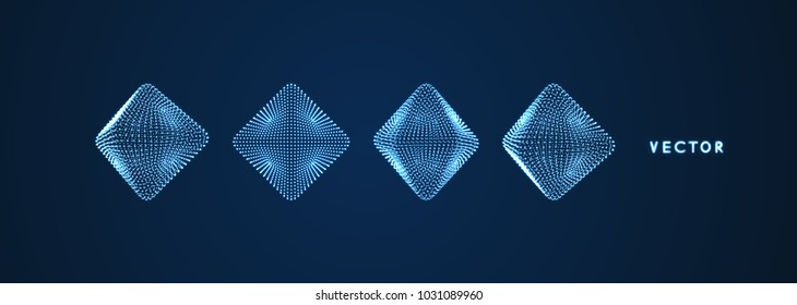 Octahedron. Object with dots. Molecular grid. 3d technology style with particle. Vector illustration. Futuristic connection structure for chemistry and science.