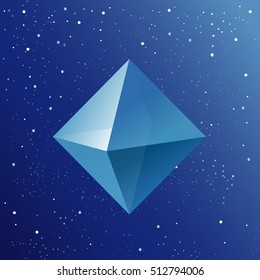 Octahedron. Platonic Solid. Sacred Air symbol. 3d geometric shape. Low poly pyramid on starry sky background. Winter vector illustration.