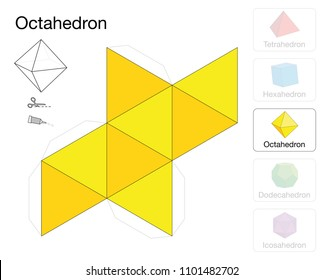 Octahedron platonic solid template. Paper model of a octahedron, one of five platonic solids, to make a three-dimensional handicraft work out of the yellow triangle net.