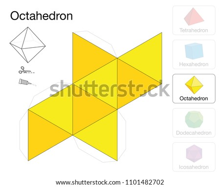 Octahedron Platonic Solid Template Paper Model Stock Vector (Royalty ...