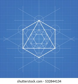 Octahedron, a vector illustration of octahedron on blueprint technical paper background