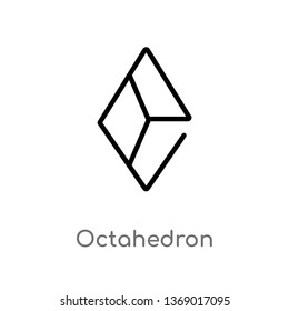 octahedron vector line icon. Simple element illustration. octahedron outline icon from geometry concept. Can be used for web and mobile