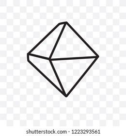 Octahedron vector linear icon isolated on transparent background, Octahedron transparency concept can be used for web and mobile