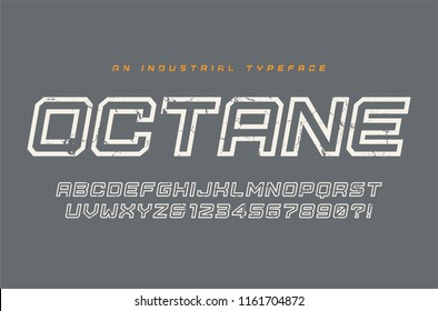 Octane vector display typeface, font, alphabet, typography. Global swatches.
