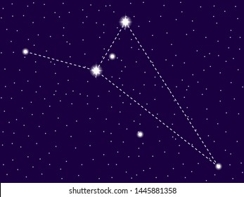 Octans constellation. Starry night sky. Cluster of stars and galaxies. Deep space. Vector illustration