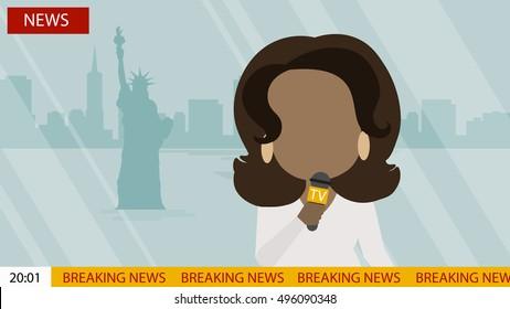 October. 03, 2016. Breaking news on Tv screen with headline. Oprah Winfrey. Latest news On air