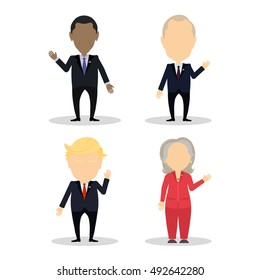 October. 03, 2016. Famous politician set. Isolated cartoon character on white background. American and russian. Barack Obama, Vladimir Putin, Hillary Clinton, Donald Trump