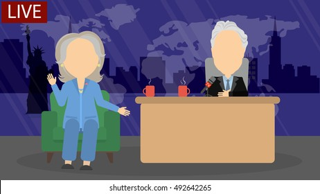 October. 03, 2016. Late night talk show. Live tv show with female host politician and funny presenter. American presidential campaign. Hillary Clinton and John Steward