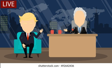 October. 03, 2016. Late night talk show. Live tv show with male host politician and funny presenter. American presidential campaign. Donald Trump and John Steward