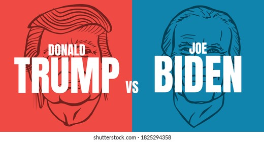 October, 1 2020: Illustration showing Republican Donald Trump vs Democrat Joe Biden face-off for American president with words Election 2020 on red and blue background