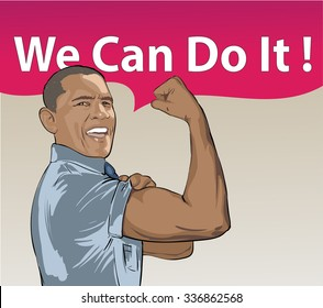 October 10, 2015 - Vector illustration of a portrait of President Obama on a beige background. USA president Barack Obama figure with comic cloud: We Can Do It.