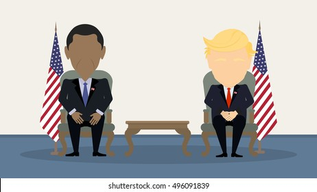October. 10, 2016. Debates on election. Two speaker sitting. Concept of voting, ellection and balloting or Election campaign. Donald Trump and Barack Obama.