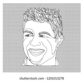 October, 10, 2018, Bekasi, Indonesia : Vector illustration of football star Christiano Ronaldo's face in black wire mesh board.