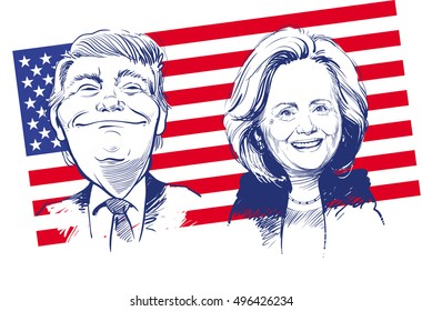 October 11, 2016: Portrait of Donald Trump and Hillary Clinton. vector illustration