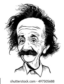 October 12, 2016: Portrait of Albert Einstein. vector illustration