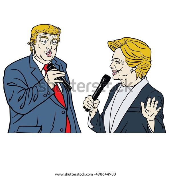 October 15, 2016: Presidential Candidates Donald Trump Vs Hillary Clinton Cartoon