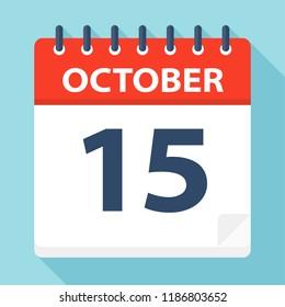 October 15 - Calendar Icon - Vector Illustration