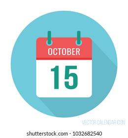 October 15 icon calendar flat