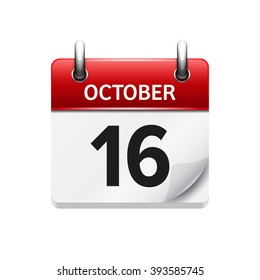 October  16. Vector flat daily calendar icon. Date and time, day, month. Holiday.