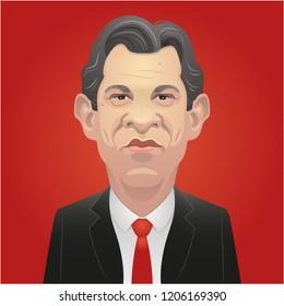 October 17, 2018 - Fernando Haddad caricature. Centre-left candidate.