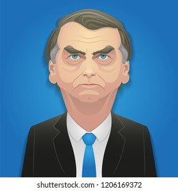 October 17, 2018 - Jair Bolsonaro caricature. Right-wing candidate over blue background.