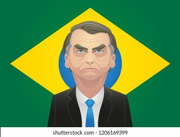 October 17, 2018 - Jair Bolsonaro caricature. Right-wing candidate in front of the brazilian flag.
