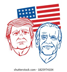 October, 2 2020: Hand illustration showing Republican Donald Trump vs Democrat Joe Biden face-off for American president with words Election 2020. USA flag background