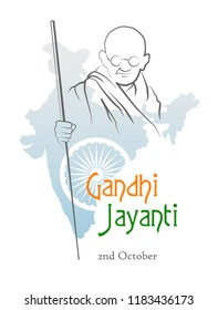 October 2. Gandhi Jayanti. India. Abstract sketch of Mahatma Gandhi with Ashoka Chakra on the silhouette of the map of India. Vector illustration.