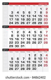 October 2012 Three-Month Calendar