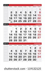 October 2013 Three-Month Calendar