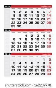 October 2014 Three-Month Calendar