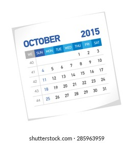 October 2015 American Calendar