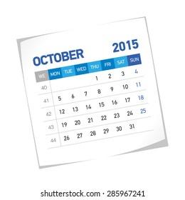 October 2015 European Calendar