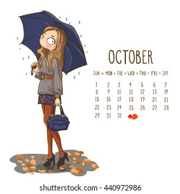 October. 2017 calendar with cute girl holding umbrella in raining. Can be used like greeting cards.