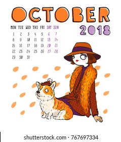 October. 2018 calendar. Cute girl with dog. Can be used like greeting cards.