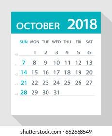 October 2018 Calendar Leaf - Vector Illustration