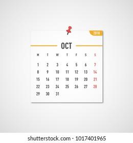 October 2018 calendar. Calendar sticker design template. Week starts on Monday. Business vector illustration.