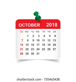 October 2018 calendar. Calendar sticker design template. Week starts on Sunday. Business vector illustration.