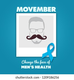 October, 2018: Movember - November is prostate cancer awareness month. Awareness of men's health issues design with replaceable photo. Vector illustration with moustache, photo frame and blue ribbon
