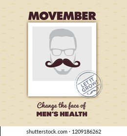 October, 2018: Movember - November is prostate cancer awareness month. Awareness of men's health issues design with replaceable photo. Vector illustration with moustache and photo frame