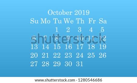 October 2019. Desktop wallpaper Calendar 2019 blue background, white numbers