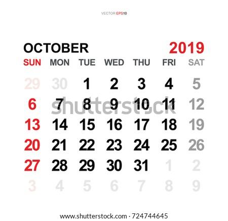 October 2019 Vector Monthly Calendar Template Stock Vector Royalty