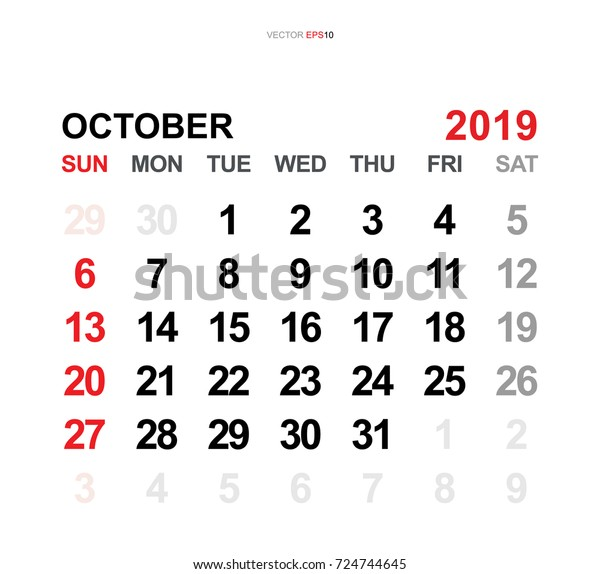 October 2019 Vector Monthly Calendar Template Stock Vector
