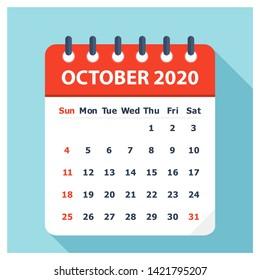 October 2020 - Calendar Icon - Calendar design template - Business vector illustration.