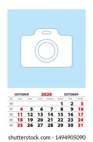 October 2020 calendar planner A3 size with place for your photo. Vector planner.
